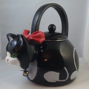 Tuxedo Kitty Cat Whistling Kettle Bell Tea Coffee